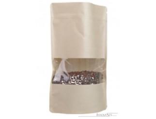 Doypack Kraftpapier mit Fenster 85 x 140mm