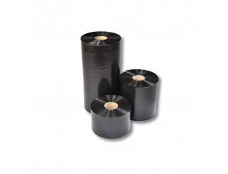 Schlauchfolie schwarz 080 mm breit 100 my Stärke 250m unbedruckt